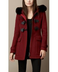Burberry Fitted Duffle Coat with Removable Fur Trim - Lyst
