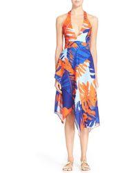 N Nicholas - Palm Print Crepe Halter Dress - Lyst