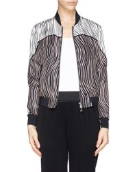 3.1 Phillip Lim Contrast Wavy Print Silk Twill Bomber Jacket multicolor - Lyst