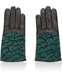 Nina Ricci | Croc-Detail Leather Gloves | Lyst
