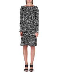 Tory Burch Lori Silk Dress Black Dotted Pny - Lyst