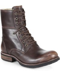 Ugg Larus Leather Lace-Up Boots - Lyst