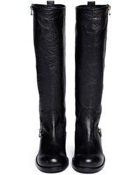 Jimmy Choo Doreen Crumpled Leather Biker Boots - Lyst