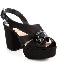Miu Miu Crystal Brooch Satin Platform Sandals - Lyst
