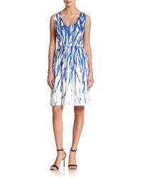 Milly Stretch-Cotton Brushstroke Print Dress - Lyst