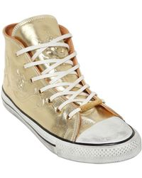 Black Dioniso 20Mm Metallic Leather High Top Sneakers - Lyst