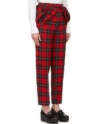 Simone Rocha Red Textured Plaid Trousers - Lyst