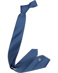 Versace Blue Microdesign And Medusa Logo Silk Narrow Tie - Lyst