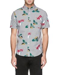 Band of Outsiders Splash Paint Print Gingham Cotton Shirt gray - Lyst