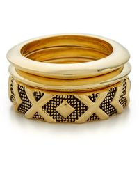 House of Harlow 1960 - Shakti Midi Ring Stack - Gold Multi - Lyst