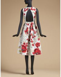 Dolce & Gabbana   Dress In Printed Mikado With Rear Cut-out   Lyst