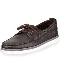 Ermenegildo Zegna Leather Boat Shoe - Lyst