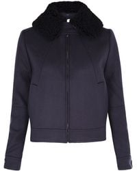 Victoria Beckham Navy Bomber with Detachable Collar - Lyst