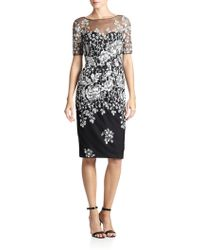 Badgley Mischka Tulle-yoke Floral Knit Dress - Lyst