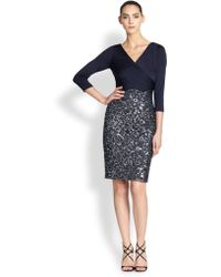 Kay Unger Wrap-top Combo Dress - Lyst