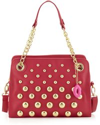 Betsey Johnson Great Balls Of Fire Pebbled Satchel Bag Fuchsia - Lyst