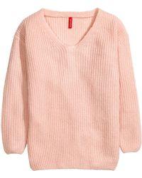 H&M Pink V-Neck Jumper - Lyst