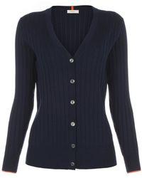 Paul Smith | Women's Navy Ribbed Merino Wool Cardigan With Orange Trims | Lyst