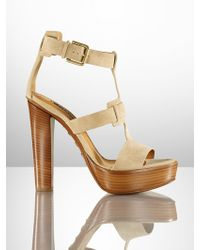 Ralph Lauren Collection Calf-Suede Sherise Sandal - Lyst