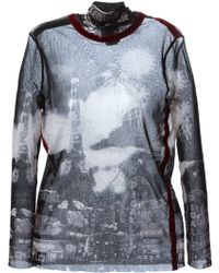 Jean Paul Gaultier Paris Printed Sheer Top - Lyst
