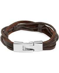 William Rast - Leather Knotted Strap Wristband - Lyst