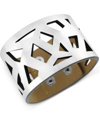 Vince Camuto - Silvertone and Faux Leather Geometric Cutout Snap Bracelet - Lyst