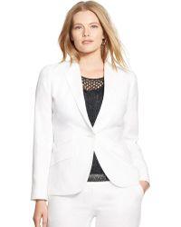 Lauren by Ralph Lauren Plus Silk-Linen Jacket - Lyst