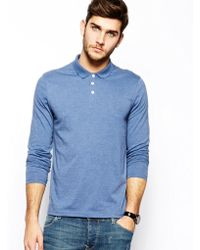 Asos Long Sleeve Polo in Jersey - Lyst