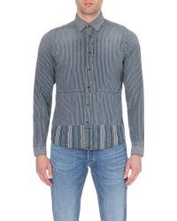 Diesel Stripad Striped Denim Shirt - For Men blue - Lyst