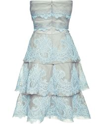 Sachin+babi Lace On Organza Strapless Tiered Dress - Lyst