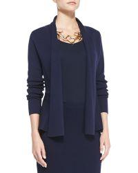 Eileen Fisher Silk-cotton Interlock Peplum Jacket - Lyst