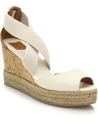 Tory Burch Canvas & Cork Espadrille Wedge Sandals white - Lyst