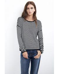 Velvet By Graham & Spencer Bari Sweater With Contrast Stripe - Lyst