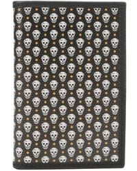 Alexander McQueen Grey Coated Canvas and Black Leather Skull Detail Bifold Card Case - Lyst