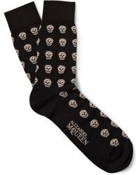 Alexander McQueen Skull-Patterned Cotton-Blend Socks - Lyst