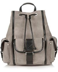 Topshop Triple Pocket Suede Backpack gray - Lyst
