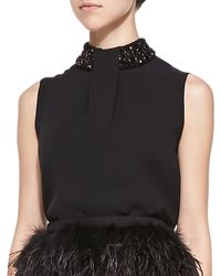 Raoul Yves Sleeveless Top with Beaded Neck - Lyst
