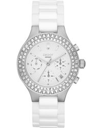 DKNY Womens Chronograph Chambers White Ceramic Bracelet Watch 38mm - Lyst