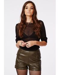 Missguided Violett Faux Leather Cargo Shorts - Lyst