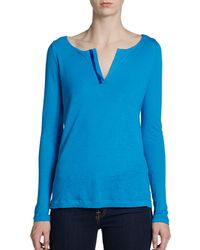 Elie Tahari Evelyn Burnout Linenblend Top - Lyst