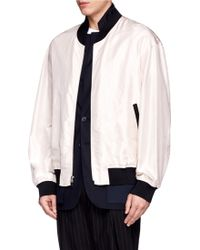 3.1 Phillip Lim Silk Chiffon Combo Wool Jacket - Lyst