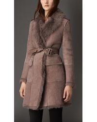 Burberry - Revere Collar Shearling Coat - Lyst