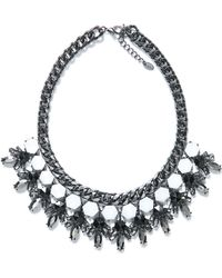 Zara Silver Rhinestone Necklace - Lyst