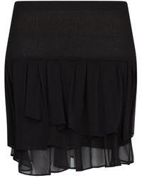 Mango Black Ruffled Skirt - Lyst