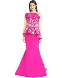 Oscar de la Renta Embroidered Fishtail Silk Faille Gown - Lyst
