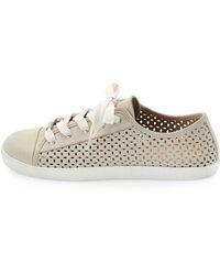 Delman - Magie Perforated Nubuck Low-Top Sneaker - Lyst