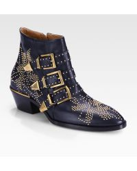 Chloé Suzanna Studded Leather Ankle Boots - Lyst