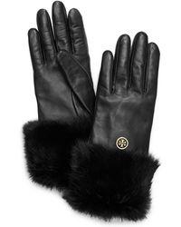 Tory Burch Fur Cuff Glove - Lyst