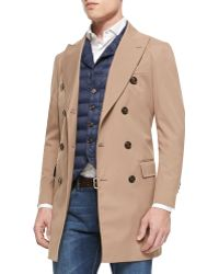 Brunello Cucinelli Nylon Double-breasted Trench Coat - Lyst