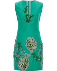 Blumarine Green Dahlia Embroidery Dress - Lyst